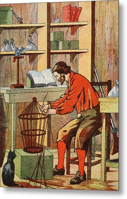 Robinson Crusoe Making A Cage For His Parrot Metal Print by English School