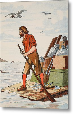 Robinson Crusoe On His Raft Metal Print by English School
