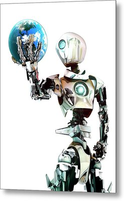 Robot Lamenting Earth Metal Print by Animate4.com/science Photo Libary