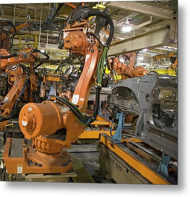 Robot On Car Assembly Production Line Metal Print by Jim West
