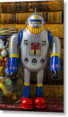 Robot With Marbles And Books Metal Print by Garry Gay