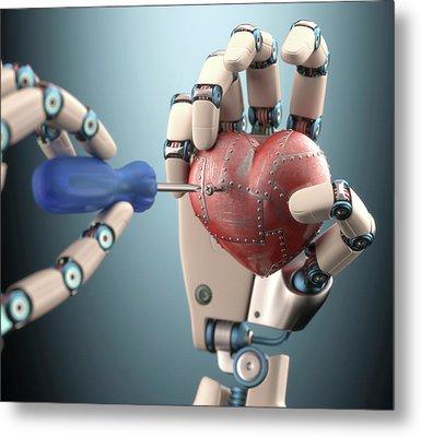 Robotic Hand Fixing Heart Metal Print by Ktsdesign