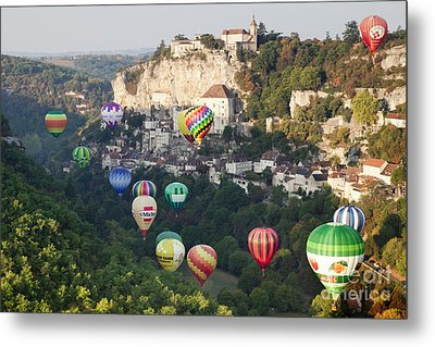 Rocamadour Midi-pyrenees France Hot Air Balloons Metal Print by Colin and Linda McKie