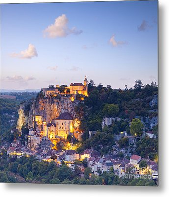 Rocamadour Midi-pyrenees France Twilight Metal Print by Colin and Linda McKie
