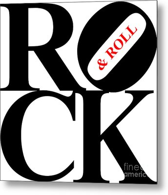 Rock And Roll 20130708 Black White Red Metal Print by Wingsdomain Art and Photography