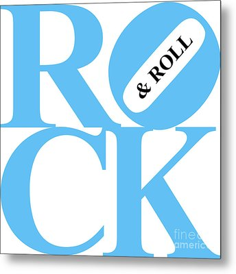 Rock And Roll 20130708 Blue White Black Metal Print by Wingsdomain Art and Photography