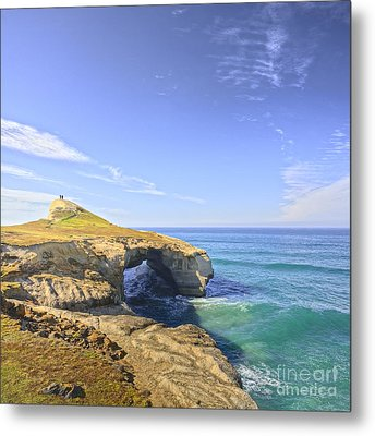 Rock Arch At Tunnel Beach Dunedin New Zealand Metal Print by Colin and Linda McKie