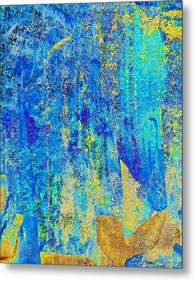Rock Art Blue And Gold Metal Print by Stephanie Grant