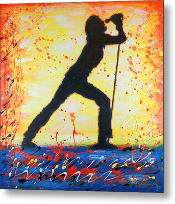 Rock Band Singer Abstract Art Metal Print by Bob Baker