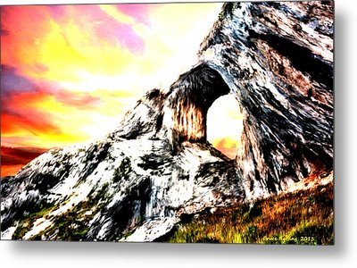 Metal Print featuring the painting Rock Cliff Sunset by Bruce Nutting
