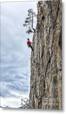 Metal Print featuring the photograph Rock Climber by Carsten Reisinger