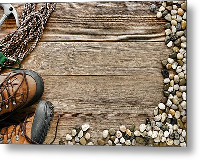 Rock Climbing Background Metal Print by Olivier Le Queinec