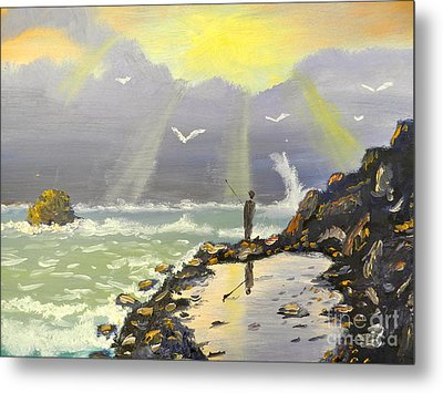 Metal Print featuring the painting Rock Fishing At Wombarra  by Pamela  Meredith