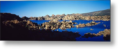 Rock Formations At Lake, Granite Dells Metal Print by Panoramic Images