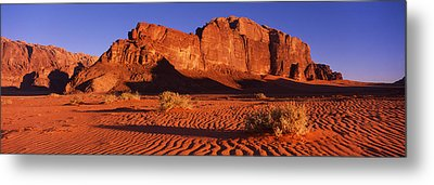 Rock Formations In A Desert, Jebel Um Metal Print by Panoramic Images