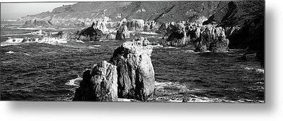 Rock Formations On The Beach, Big Sur Metal Print by Panoramic Images