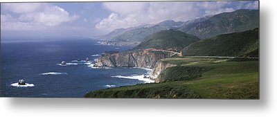 Rock Formations On The Beach, Bixby Metal Print by Panoramic Images