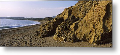 Rock Formations On The Beach, Chios Metal Print