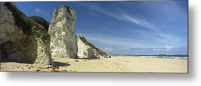 Rock Formations On The Beach, White Metal Print by Panoramic Images