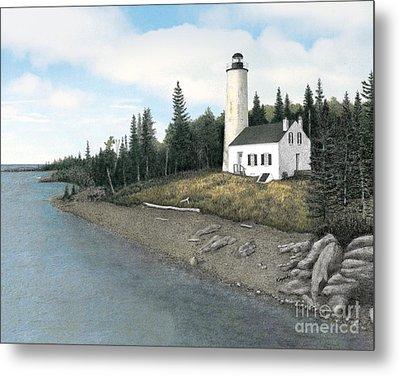 Rock Harbor Lighthouse Metal Print by Darren Kopecky