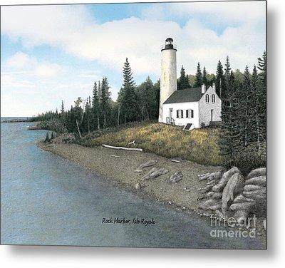 Rock Harbor Lighthouse Titled Metal Print