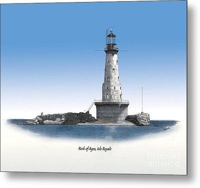 Rock Of Ages Lighthouse Titled Metal Print by Darren Kopecky