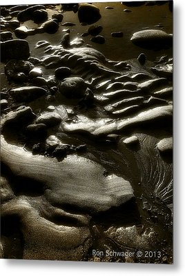 Rock Sand Water Light Metal Print by Ron Schwager