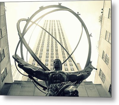 'rockefeller Center And Atlas' Metal Print