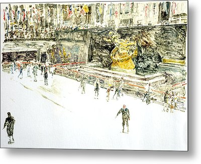 Rockefeller Center Skaters Metal Print by Anthony Butera