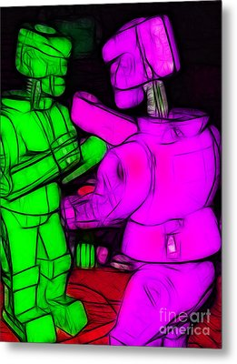 Rockem Sockem Robots - Color Sketch Style - Version 2 Metal Print by Wingsdomain Art and Photography