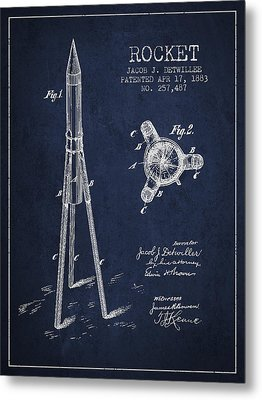 Rocket Patent Drawing From 1883 Metal Print by Aged Pixel