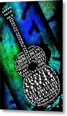 Rockin Guitar In Blue And Green Metal Print by Andee Design