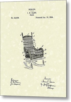 Rocking Chair 1894 Patent Art Metal Print by Prior Art Design