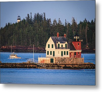 Rockland Breakwater Light. Metal Print by Dave Cleaveland