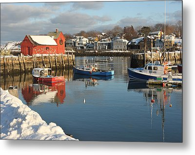Rockport Harbor In Winter Metal Print by Gail Maloney