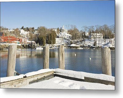 Rockport In Winter On The Coast Of Maine Metal Print by Keith Webber Jr