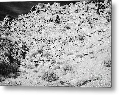 Rocks Forming Support For The Old Arrowhead Trail Road Valley Of Fire State Park Nevada Usa Metal Print by Joe Fox