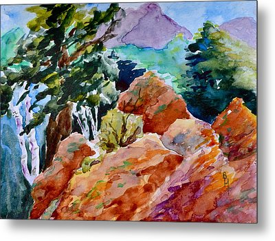 Rocks Near Red Feather Metal Print by Beverley Harper Tinsley