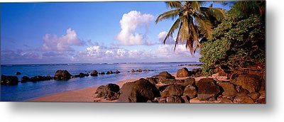 Rocks On The Beach, Anini Beach, Kauai Metal Print
