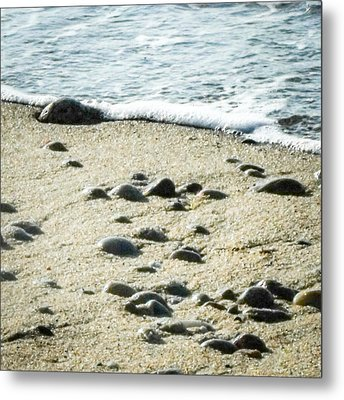 Rocks Sand And Sea Metal Print