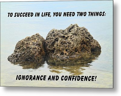 Rocks With Reflection Quote  Metal Print by Rudy Umans
