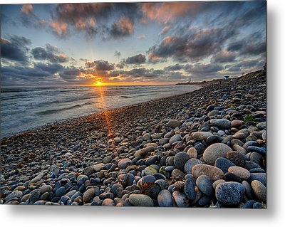 Rocky Coast Sunset Metal Print by Peter Tellone