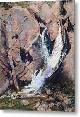Rocky Mountain Cascade Metal Print by Mary Benke