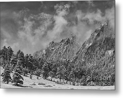 Rocky Mountain Dusting Of Snow Boulder Colorado Bw Metal Print by James BO  Insogna