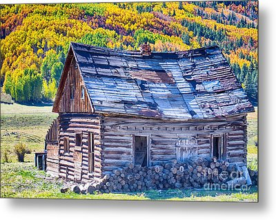 Rocky Mountain Rural Rustic Cabin Autumn View Metal Print by James BO  Insogna