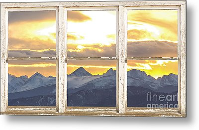 Rocky Mountain Sunset White Rustic Farm House Window View Metal Print