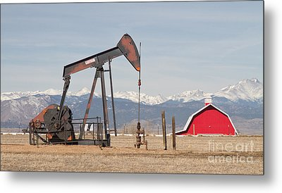 Rocky Mountains Oil Well And Red Barn Panorama Metal Print