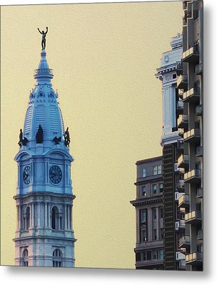 Rocky On Top Of City Hall Metal Print by Bill Cannon