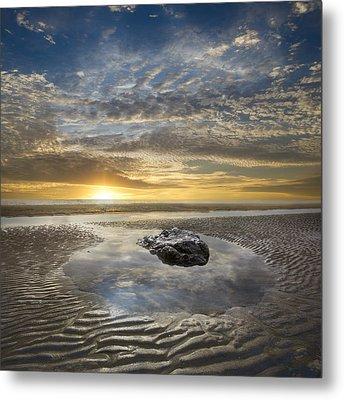 Rocky Pool At Dawn Metal Print by Debra and Dave Vanderlaan