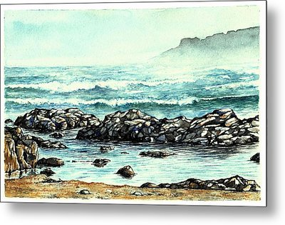 Metal Print featuring the painting Rocky Seashore by Heidi Kriel